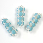 Preciosa Rhinestone Rondelle Crystal Tubes 20x7MM TURQUOISE/SILVER