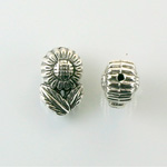 Metalized Plastic Bead - Daisy 16x11MM ANTIQUE SILVER