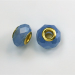 Glass Faceted Bead with Large Hole Gold Plated Center - Round 14x9MM OPAL BLUE