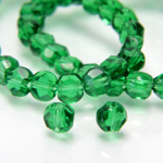 Chinese Cut Crystal Bead - Round Disc Side Drilled 04MM DARK EMERALD