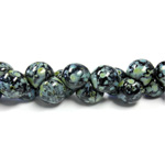 Czech Pressed Glass Bead - Mushroom 09x8MM BLACK TRAVERTINE