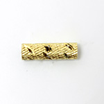 Brass Machine Made Engraved Pierced Bead - Tube 20x6MM RAW
