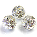 Filigree Rhinestone Ball with Center Line Crystals - 12MM CRYSTAL-SILVER
