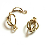 Brass Bead Cage Pendant with Loop - Round 19x12MM RAW Unplated