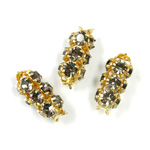 Preciosa Rhinestone Rondelle Crystal Tubes 16x7MM BLACK DIAMOND/GOLD
