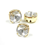 Crystal Stone in Metal Sew-On Setting - Round Rivoli SS34 (07mm) CRYSTAL-GOLD