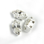 Crystal Stone in Metal Sew-On Setting - Navette 08x4MM CRYSTAL-SILVER