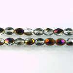Czech Glass Fire Polish Bead - Oval 07x5MM 1/2 Coated ZAIRIT