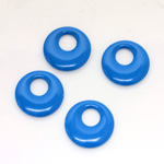 Plastic Pendant - Opaque Color Smooth Round Creole 17MM BRIGHT BLUE