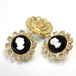 Czech Rhinestone Button - Round 20MM CRYSTAL-GOLD
