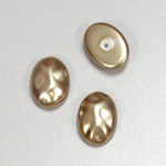 Glass Cabochon Baroque Top Pearl Dipped - Oval 18x13MM LT BROWN