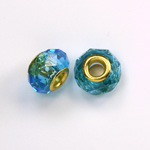 Glass Faceted Bead with Large Hole Gold Plated Center - Round 14x9MM AQUA