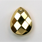 Metalized Plastic Pendant- Faceted Drop 26x2MM0MM GOLD