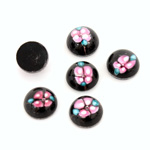 Glass Medium Dome Lampwork Cabochon - Round 10MM PINK ON JET (00555)