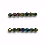 Czech Glass Fire Polished Bead - Bicone 04MM IRIS GREEN