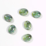 Glass Medium Dome Coated Cabochon - Oval 10x8MM LUSTER GREEN