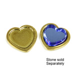 Brass Stamped Setting - Heart with 8mm Recess RAW