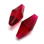 Plastic Bead -  Faceted Elongated Bicone 30x14MM ORIENTAL RUBY