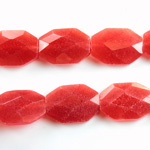 Gemstone Bead - Faceted Octagon 18x13MM Dyed QUARTZ Col. 44 RED