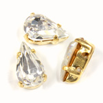 Crystal Stone in Metal Sew-On Setting - Pear 10x6MM CRYSTAL-RAW