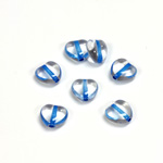 Czech Pressed Glass Bead - Smooth Heart 08x8MM CRYSTAL BLUE LINE