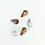 Plastic Point Back Foiled Stone - Pear 10x6MM SMOKE TOPAZ