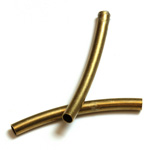 Brass Curved Bead - Hollow Tube 27x2.5MM RAW