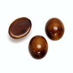 Glass Medium Dome Opaque Cabochon - Oval 16x12MM BROWNHORN