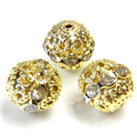 Filigree Rhinestone Ball with Center Line Crystals - 12MM CRYSTAL-GOLD