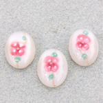 Glass Medium Dome Lampwork Cabochon - Oval 18x13MM PINK ON WHITE (04863)