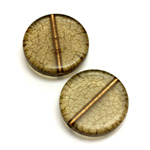 Plastic Bead - Bronze Lined Veggie Color Smooth Flat Round 22MM MATTE OLIVE