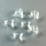 German Plastic Bead - Transparent Faceted Heart 9MM CRYSTAL