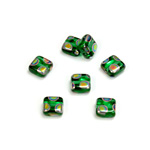 Czech Pressed Glass Bead - Smooth Flat Square 06x6MM PEACOCK EMERALD
