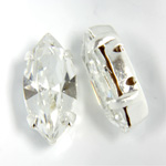 Crystal Stone in Metal Sew-On Setting - Navette 15x7MM CRYSTAL-SILVER