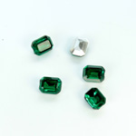 Plastic Point Back Foiled Stone - Cushion Octagon 08x6MM EMERALD