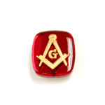 Glass Flat Back Intaglio Masonic - Cushion Antique 16x14MM GOLD ON RUBY Foiled