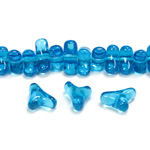 Czech Pressed Glass Bead -Tri-Y 11x9MM CAPRI BLUE