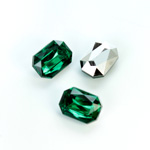 Plastic Point Back Foiled Stone - Cushion Octagon 14x10MM EMERALD
