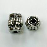Metalized Plastic Engraved Bead - Fancy 16x11MM ANT SILVER