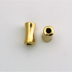 Metalized Plastic Bead - Hourglass Tube 13x7MM GOLD