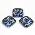 Czech Pressed Glass Bead - Smooth Flat Square 18x18MM PATTERN on LT SAPPHIRE