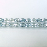 Czech Glass Fire Polish Bead - Oval 06x4MM LUMI COATED BLUE