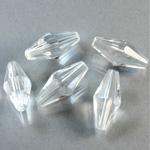 Plastic Bead - Faceted Elongated Bicone 18x8MM CRYSTAL