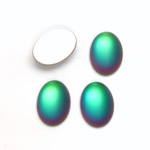 Glass Medium Dome Foiled Cabochon - Coated Oval 14x10MM MATTE HELIO GREEN