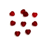 Czech Pressed Glass Bead - Smooth Heart 06x6MM MATTE RUBY