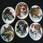 German Plastic Porcelain Decal Painting - Dogs Oval 40x30MM ON CHALKWHITE BASE