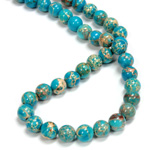Gemstone Bead - Smooth Round 08MM SEA SEDIMENT JASPER DYED TURQUOISE