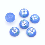 Glass Medium Dome Lampwork Cabochon - Round 10MM WHITE ON LT BLUE (00570)