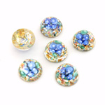 Glass Medium Dome Lampwork Cabochon - Round 10MM BLUE ON SILVER (00597)