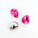 Plastic Point Back Foiled Stone - Pear 14x10MM ROSE